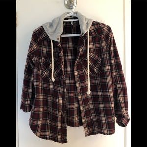 Flannel Button Down with Hood
